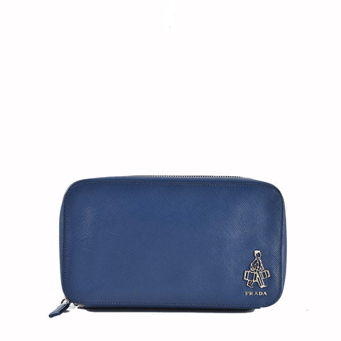 Prada VR096A Borsello Saffiano Travel Bluette Pouch