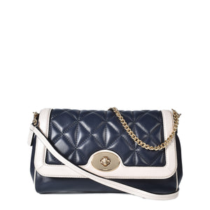 Coach Quilted Calf Black & White Leather Crossbody