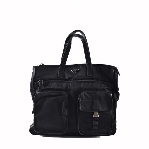 Prada VA0610 Nylon & Saffiano Black Laptop Bag