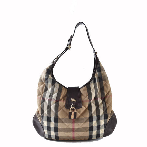 Burberry House Check Brooke Quilted Canvas Leather Hobo