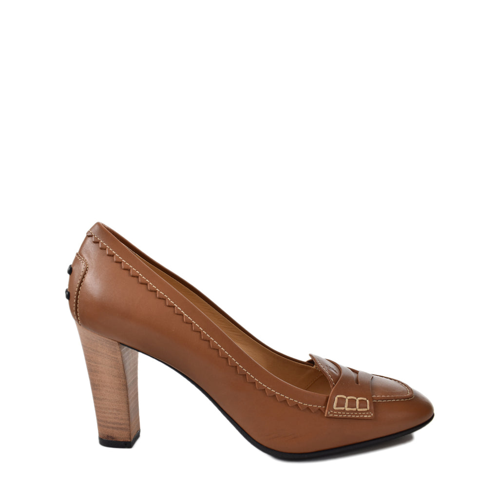 Tod's Dark Brandy Jodie Moccasin Pumps Size 39