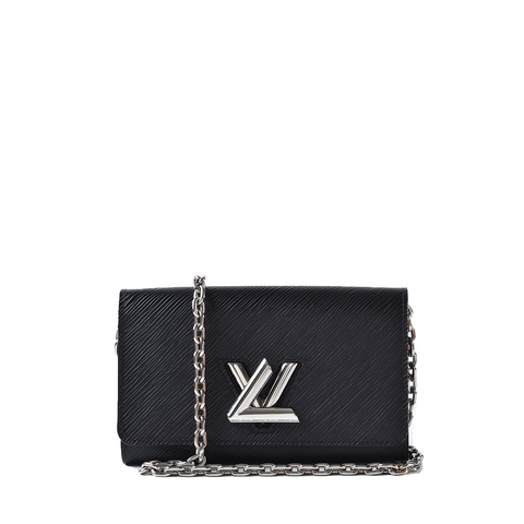 Louis Vuitton Black Epi Leather Twist Chain Wallet SP4158