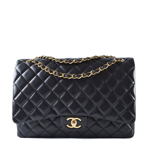 Chanel Black Maxi Lambskin Classic Double Flap #15810079