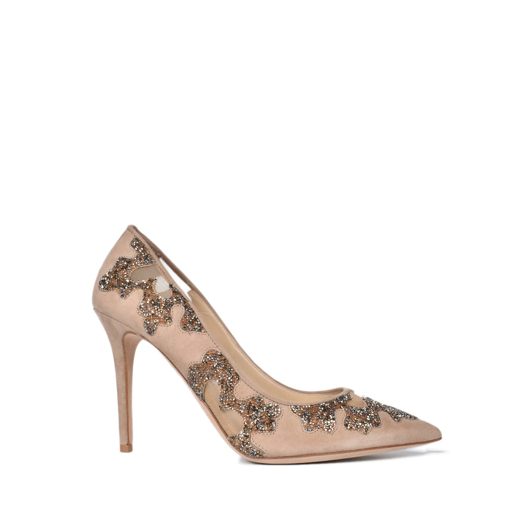 Jimmy Choo Karmel 100 Nude Suede And Mesh With Crystal Rocks Pointy Toe Pumps