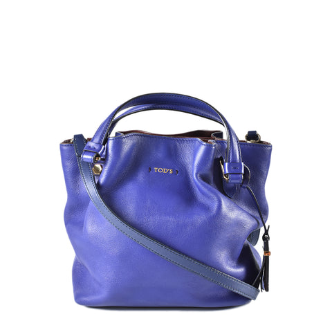 Tod's 'Small Flower' Leather Purple Crossbody Bag