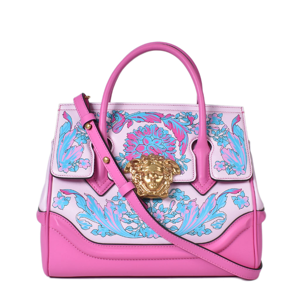 Versace Palazzo Empire  Medium Peony Multi Calfskin Shoulder Bag