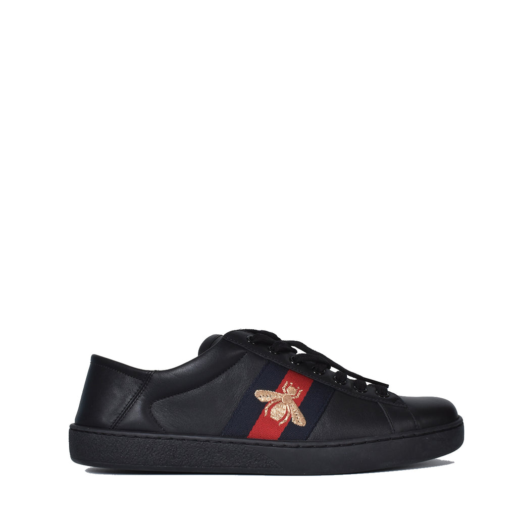 Gucci Men's Ace Black Leather Sneakers
