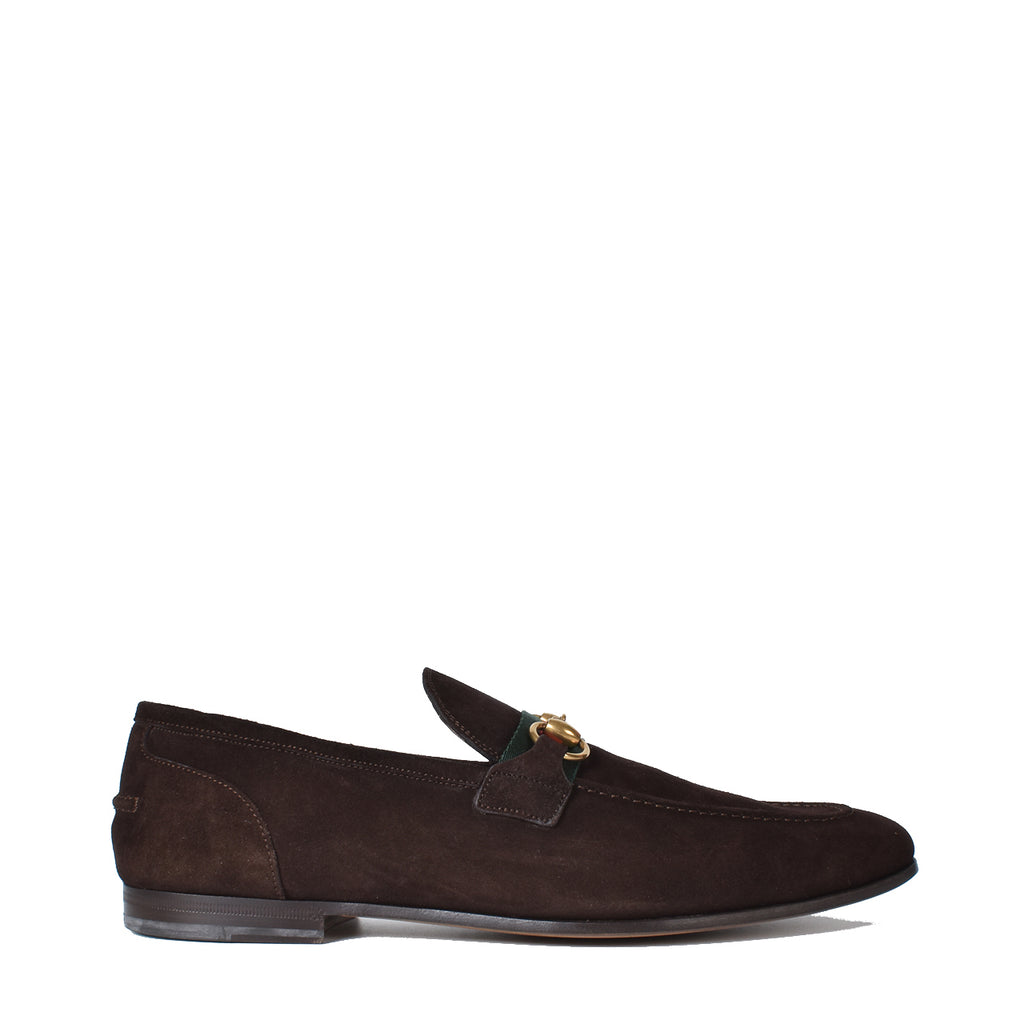 Gucci Men's Brown Horsebit Suede Loafer with Web