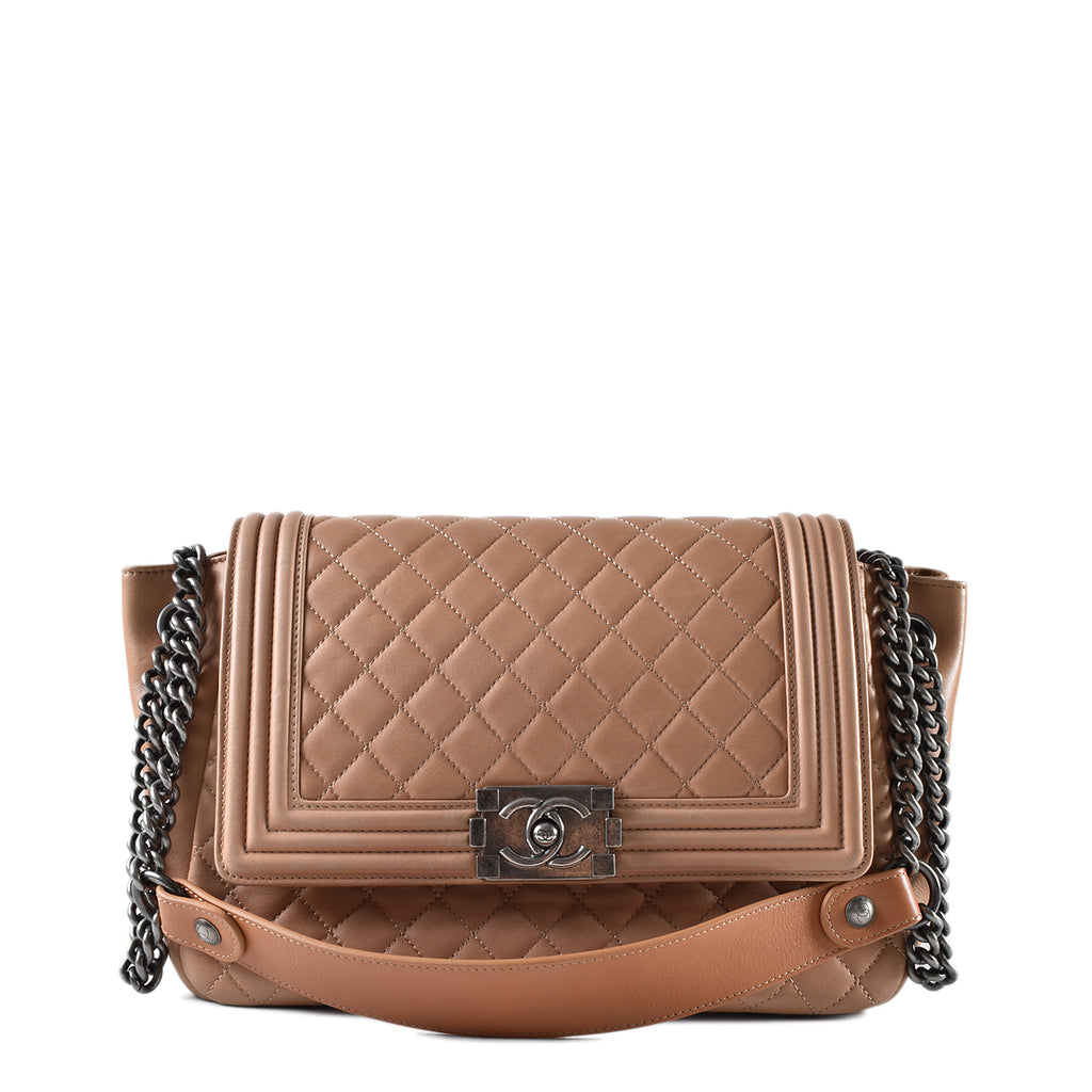 Chanel Boy Accordion Flap Bag Quilted Brown Lambskin Small RHW 16261966