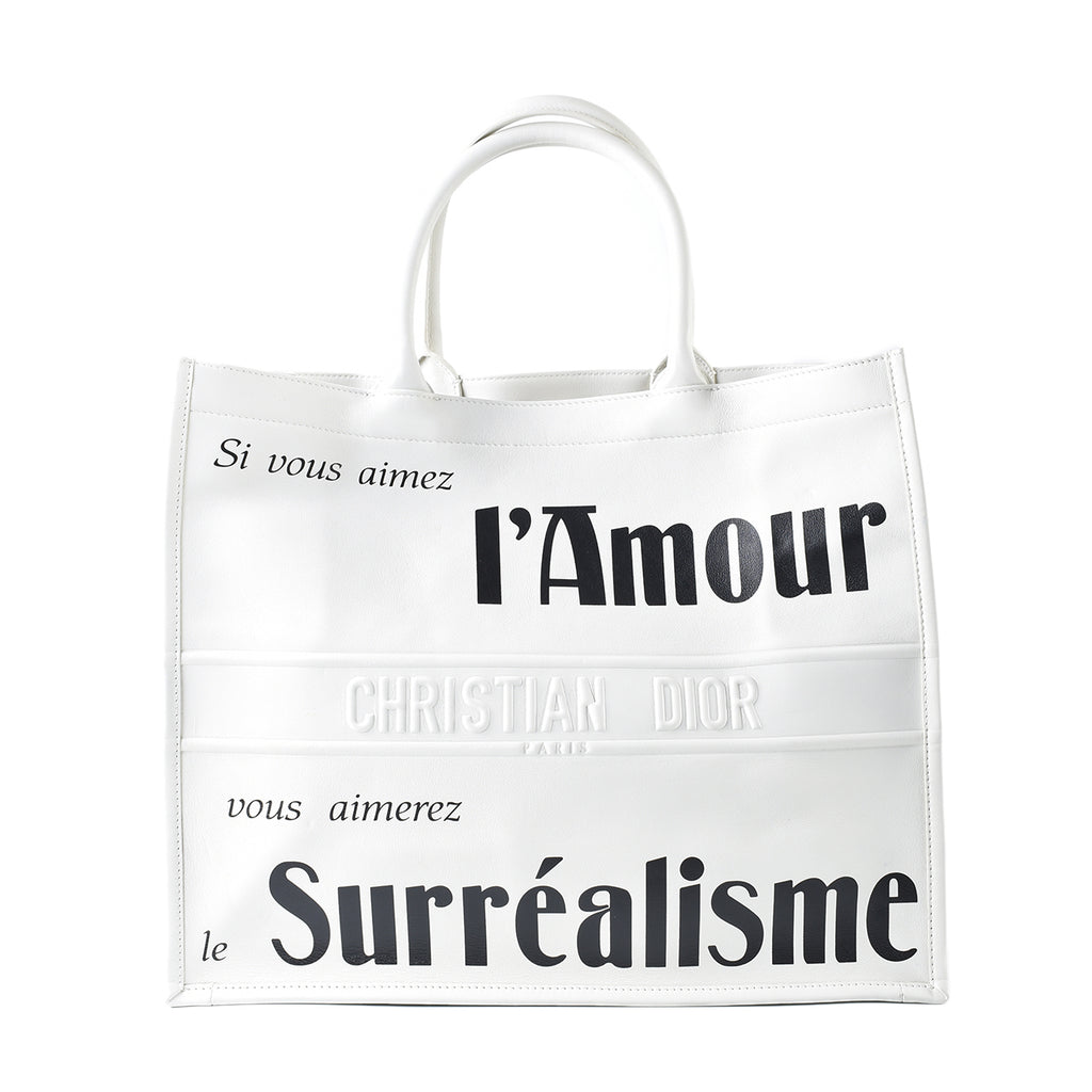 Christian Dior Women's 'L'Amour Surrealisme' White Calfskin Leather Book Tote Bag 5-MA-0-148