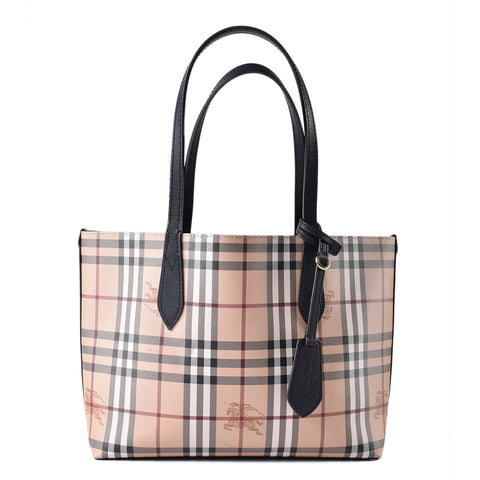 Burberry Small Reversible House Check Tote Bag in Black
