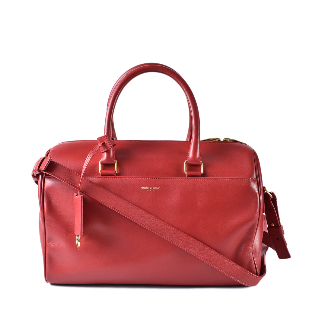 Yve Saint Laurent Red Calfskin Leather Classic Duffle 12 Bag