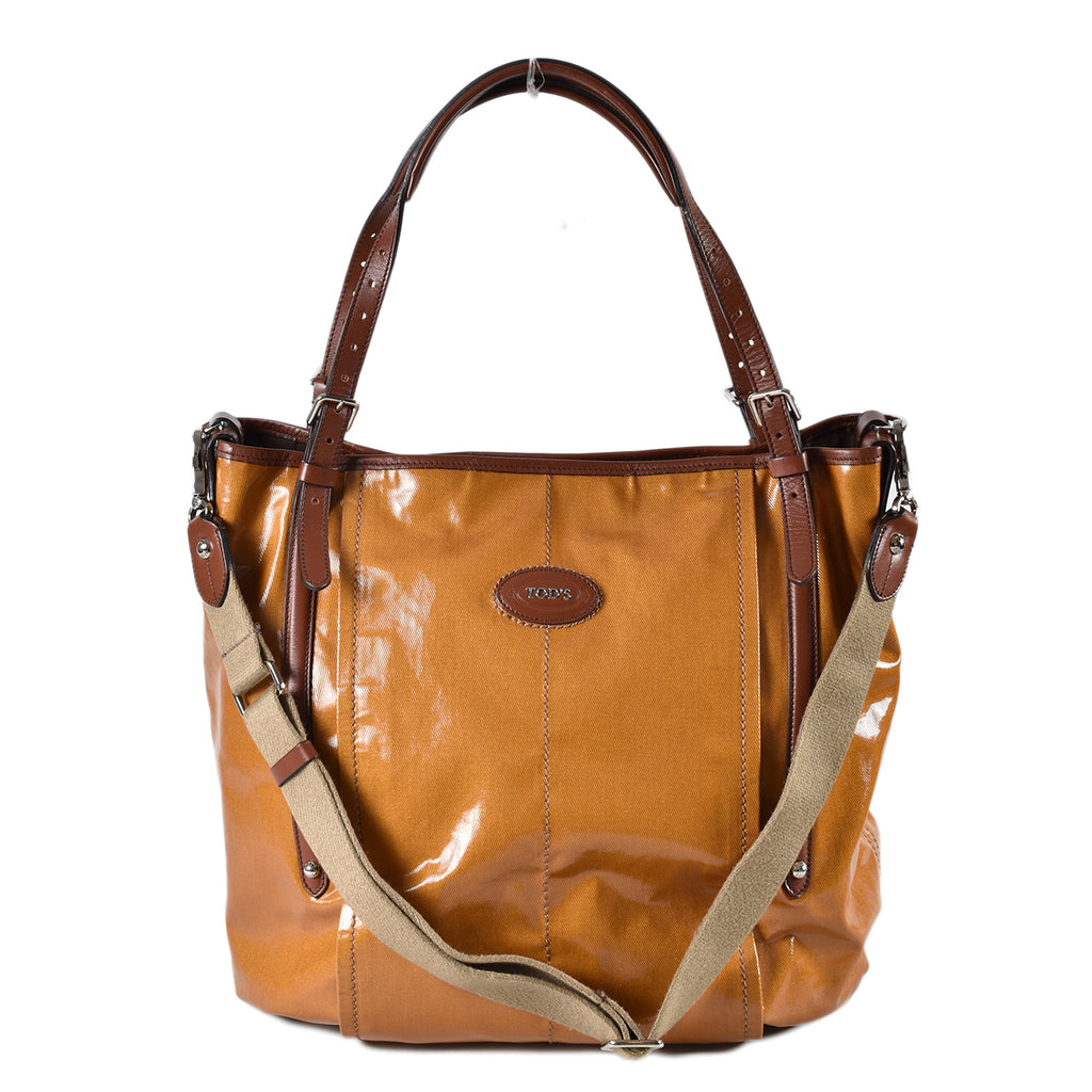 Tod's G Line Sacca Coated Canvas Tote in Brown