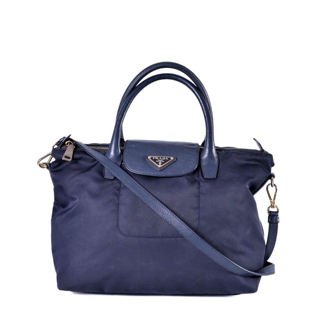 Prada BN2106 Tessuto + Saffiano Leather Tote in Blue