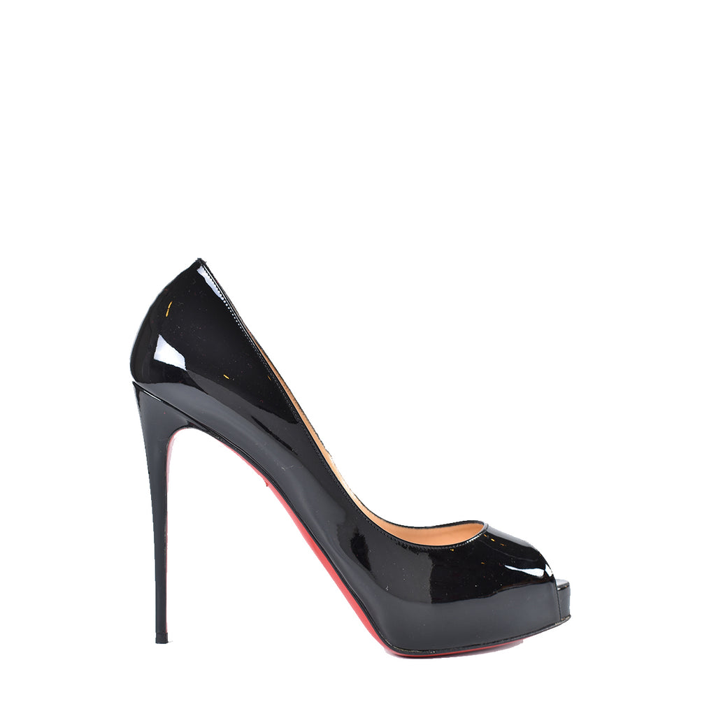 Christian Louboutin New Very Prive 120 Patent Black Heels