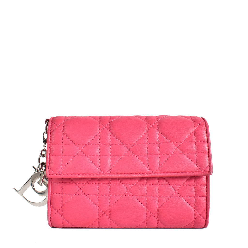 Dior Pink Cannage Quilted Wallet 02-LU-0114
