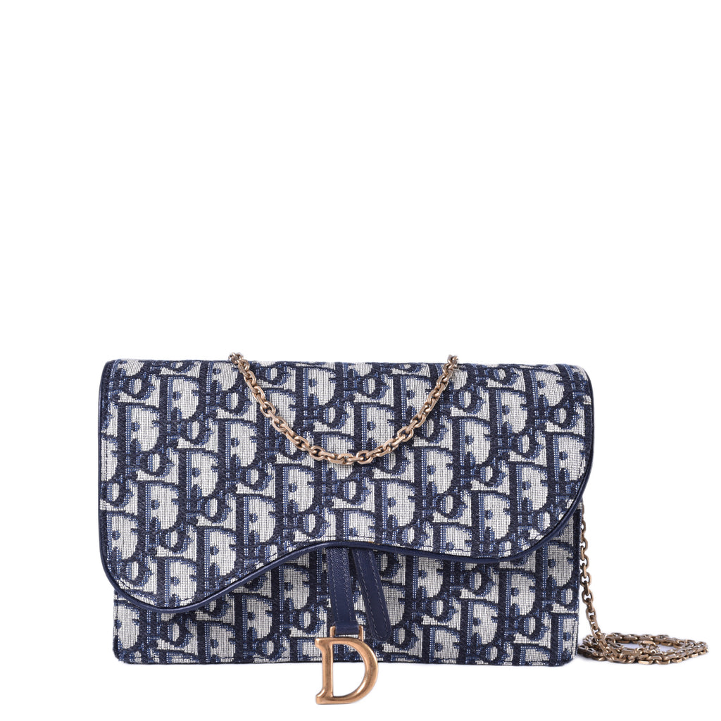 Christian Dior Blue Saddle Monogram WOC Pouch 12-MA-1108