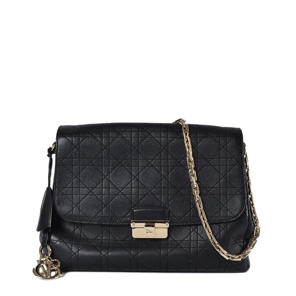 Christian Dior Black Cannage Quilt Calfskin Flap GHW 09-BO-0124