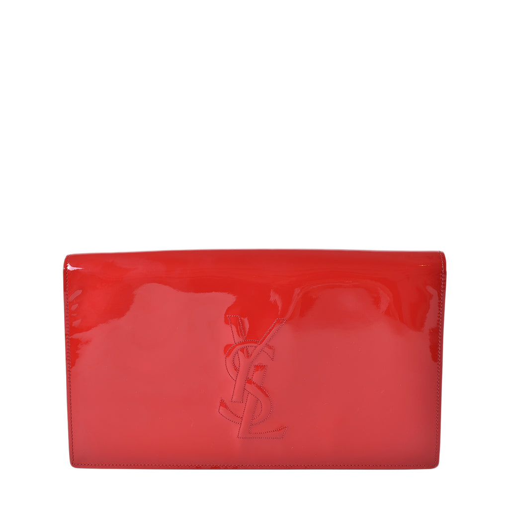 Yves Saint Laurent Red Patent Leather Belle De Jour Large Clutch Bag
