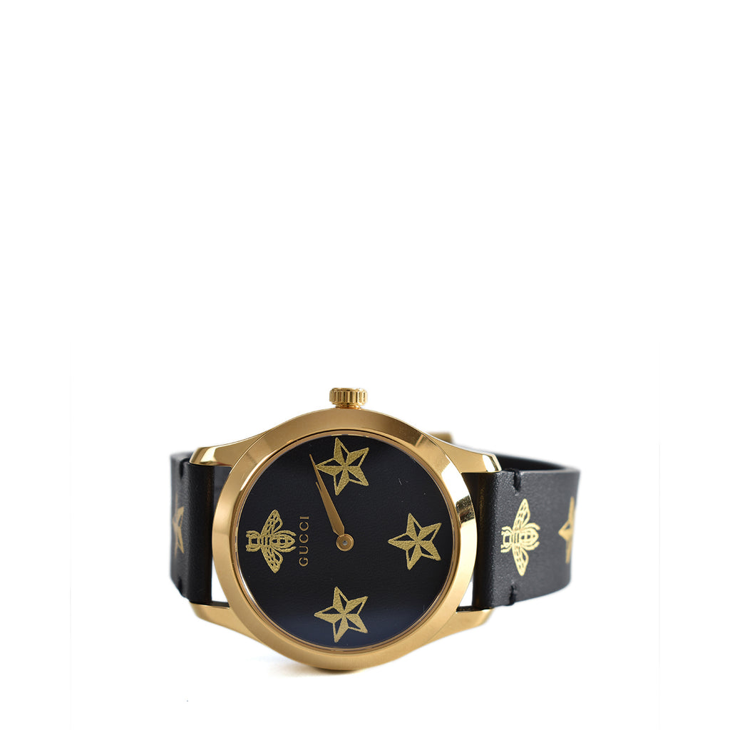 Gucci 561380 I86A0 1000 G-Timeless Watch 38mm Black Leather Gold Bees/Stars