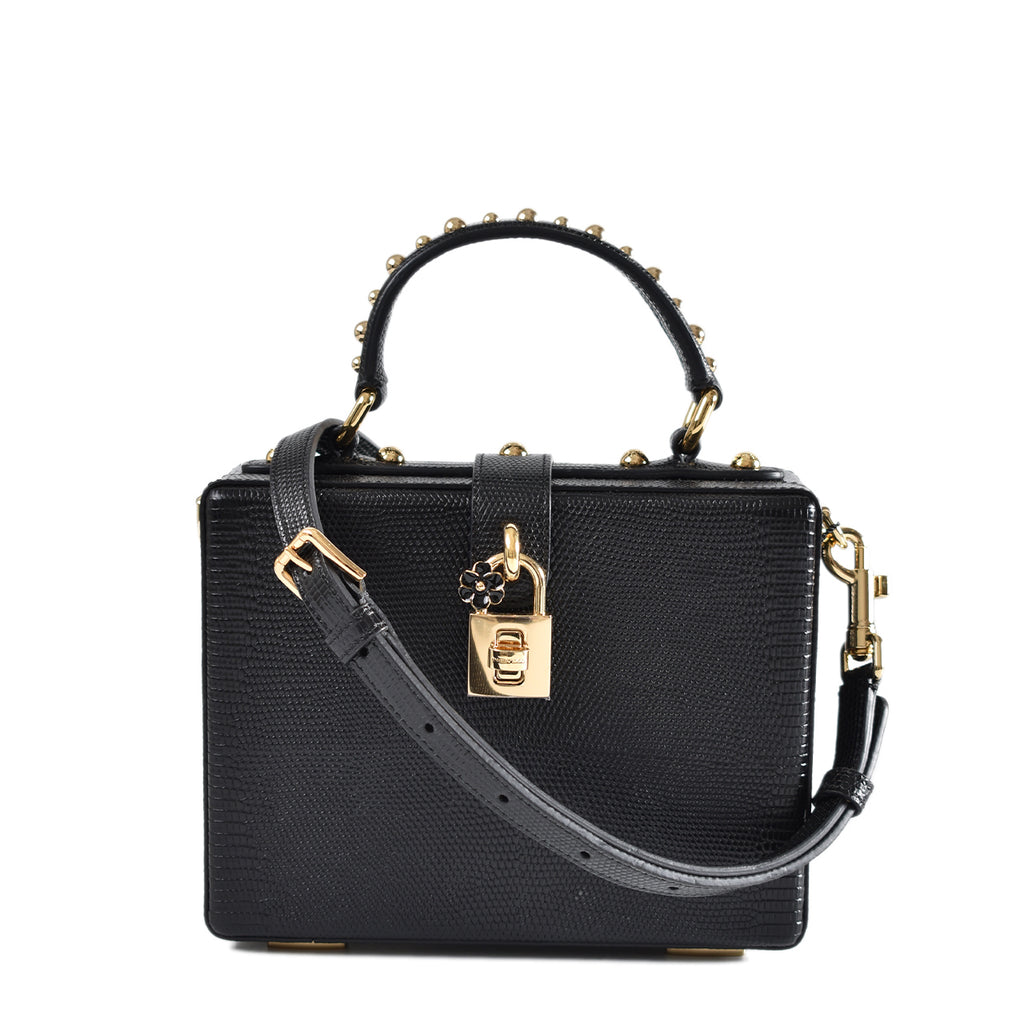 Dolce & Gabbana Black Vitello Leather Box Bag With Studded Handle GHW