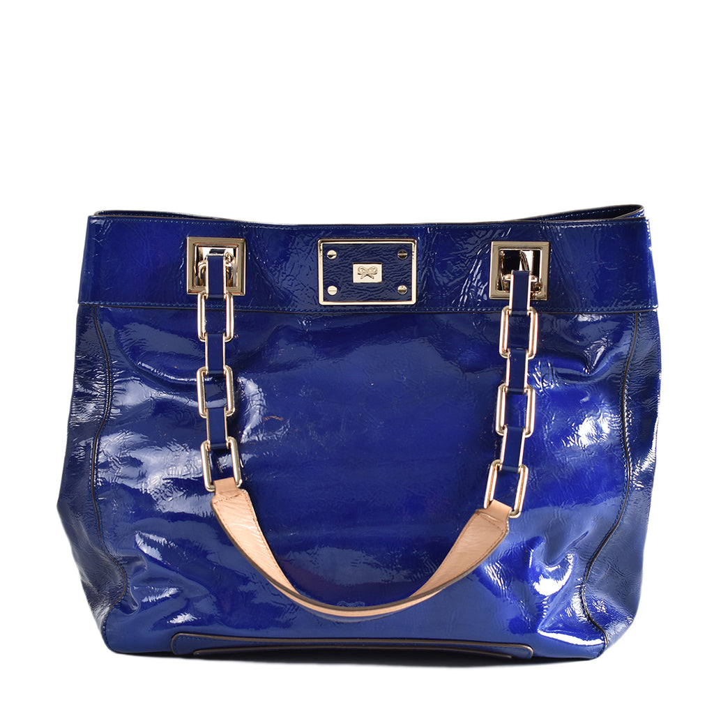 Anya Hindmarch Flavie Cobalt Blue Patent Tote