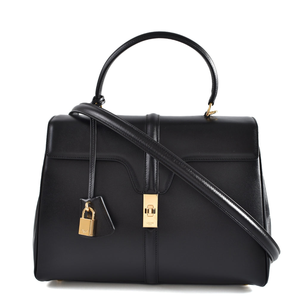 Celine Medium 16 Black Satinated Calfskin