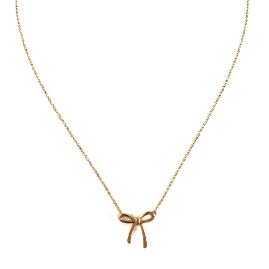 Tiffany & Co Bow Pendant in 18k Gold Necklace