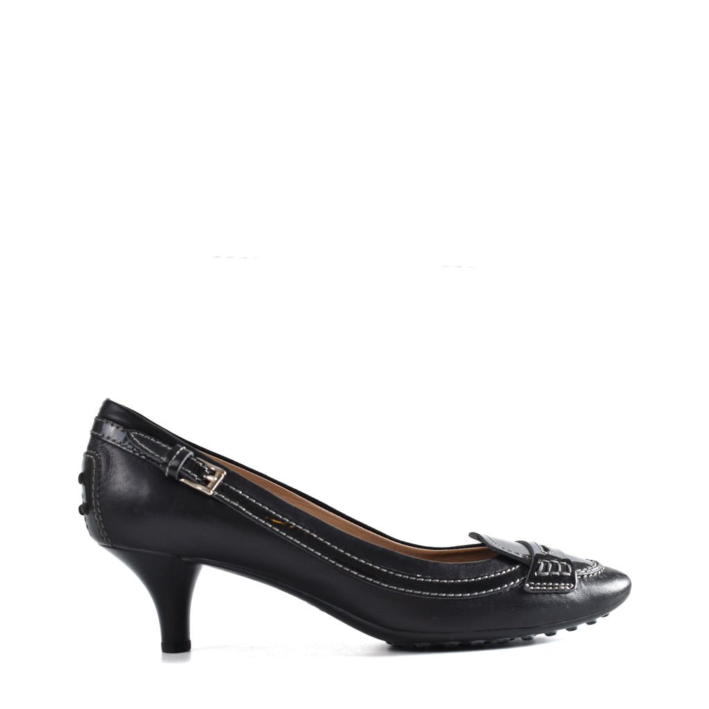 Tod's Black Jodie Patent Leather Penny Pumps
