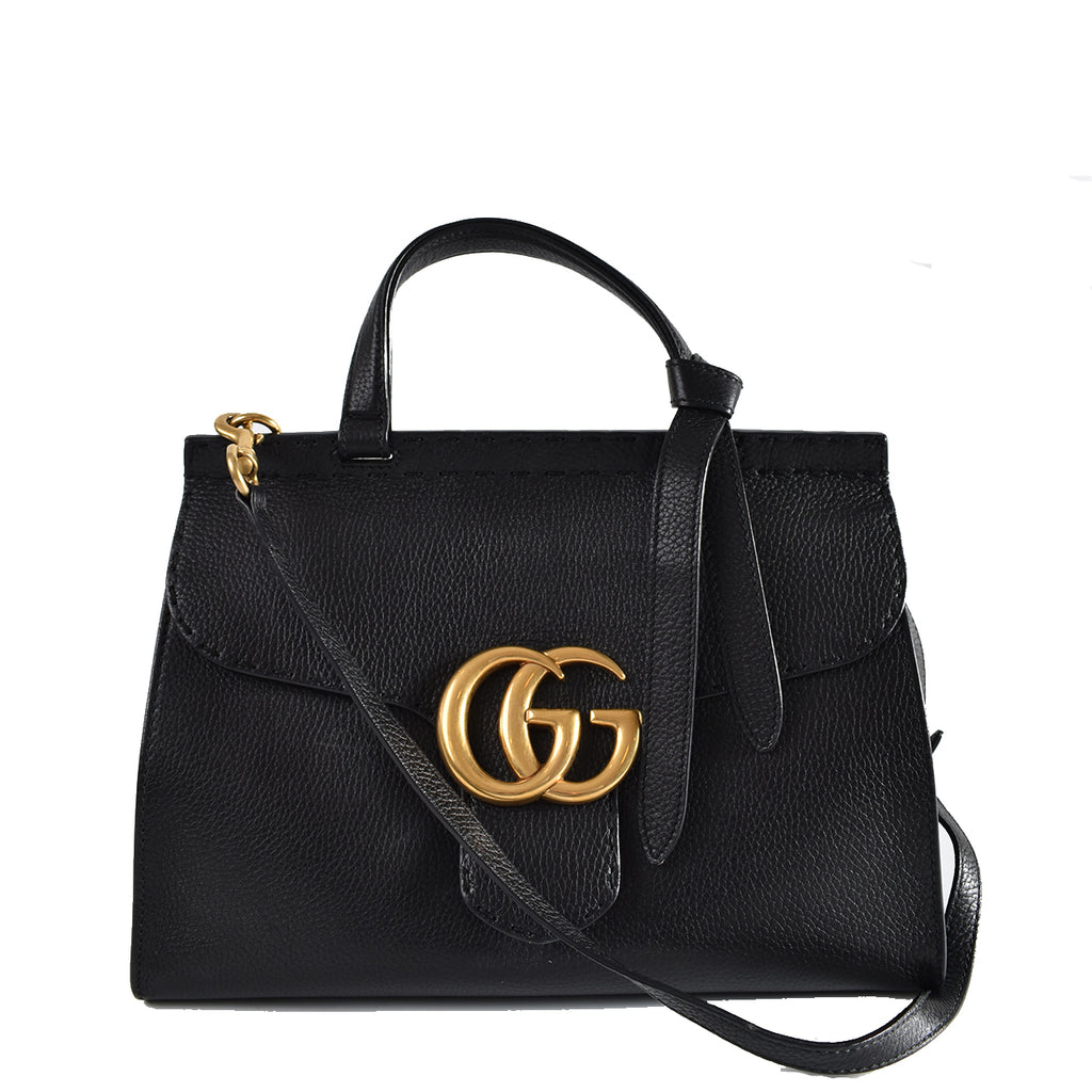 Gucci Marmont Top Handle Bag in Black Pebbled Leather