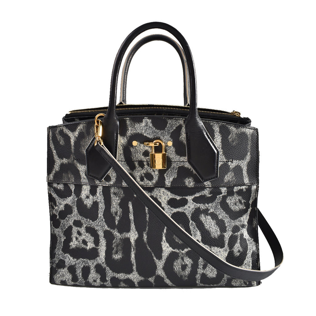 Louis Vuitton City Steamer MM Canvas Calfskin Wild Animal Print