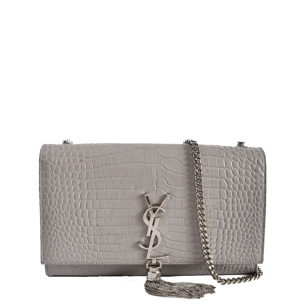Yve Saint Laurent Grey Crocodile Embossed Calfskin Leather Kate Tassel Bag
