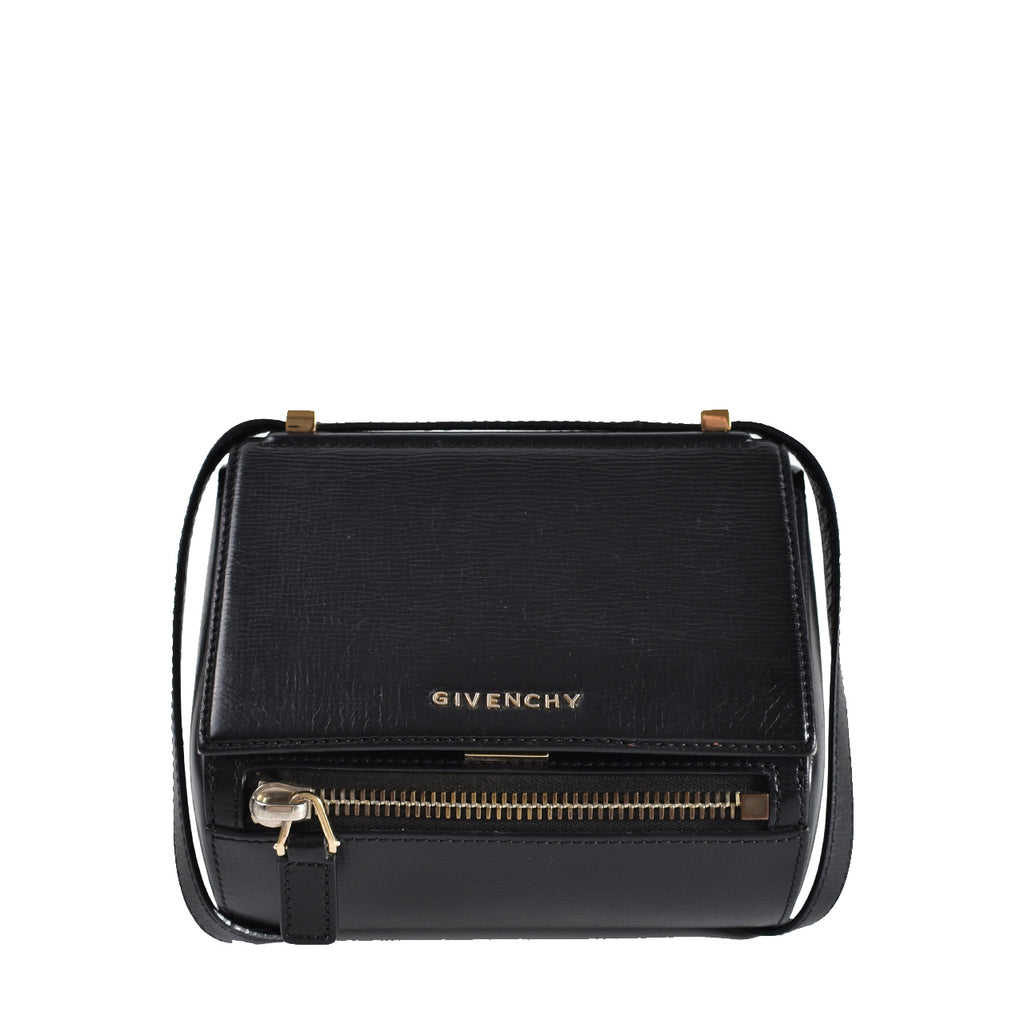Givenchy Black Grained Leather Pandora Box Small Shoulder Bag