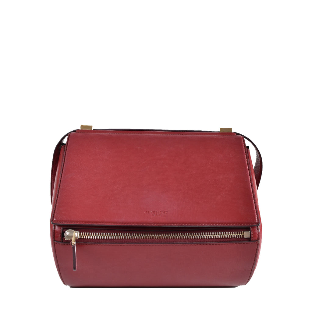 Givenchy Red Grained Leather Pandora Box Medium Shoulder Bag TE0134