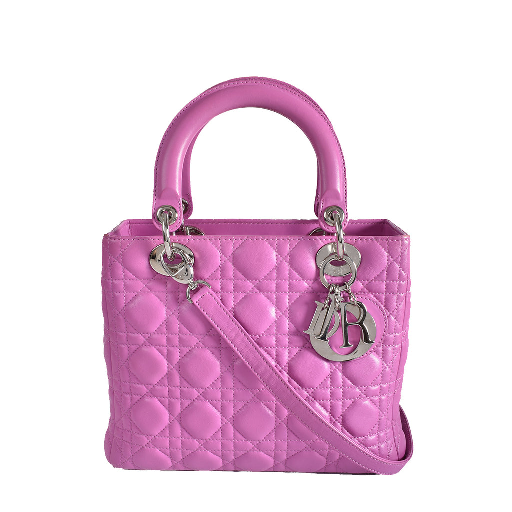 Christian Dior Pink Cannage Lambskin Leather Lady Dior Medium Bag 08-MA-0121