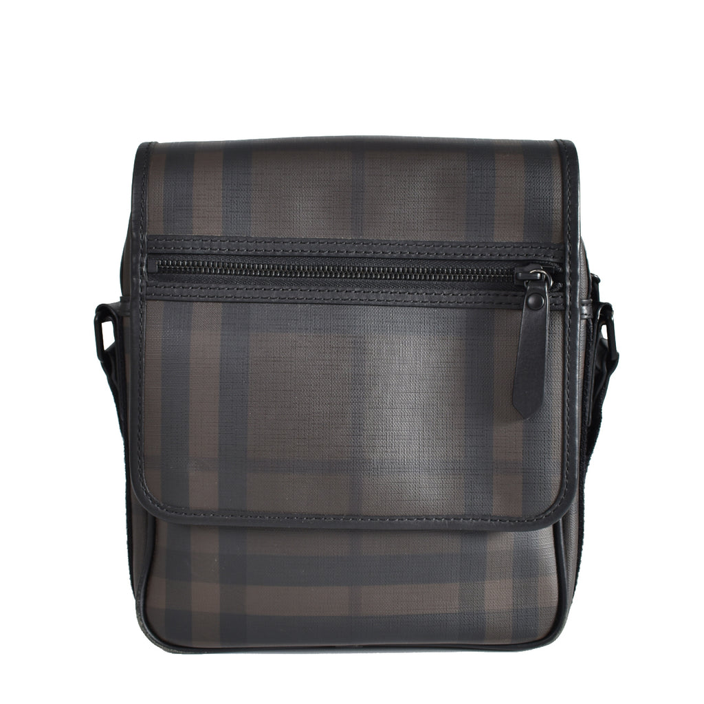 Burberry Smoked Check Messenger Bag Flap
