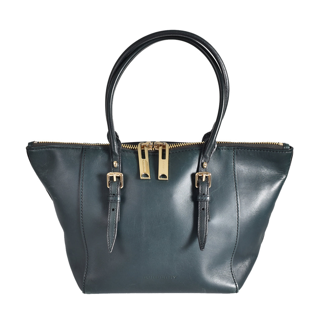 Burberry Dark Green Saddle Stitch Salisbury Tote