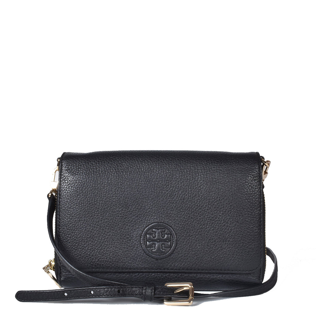 Tory Burch Bombe Flat Wallet Black Leather Crossbody Bag