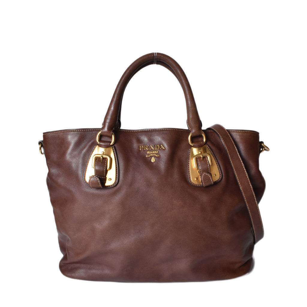 Prada Brown Soft Calfskin and Pig Skin Leather Shopping Tote Bag