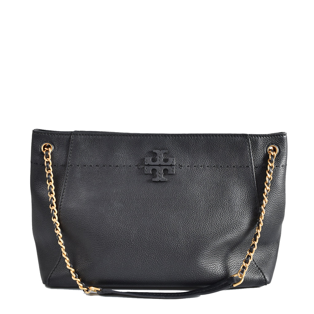 Tory Burch McGraw Chain Shoulder Slouchy Black Tote