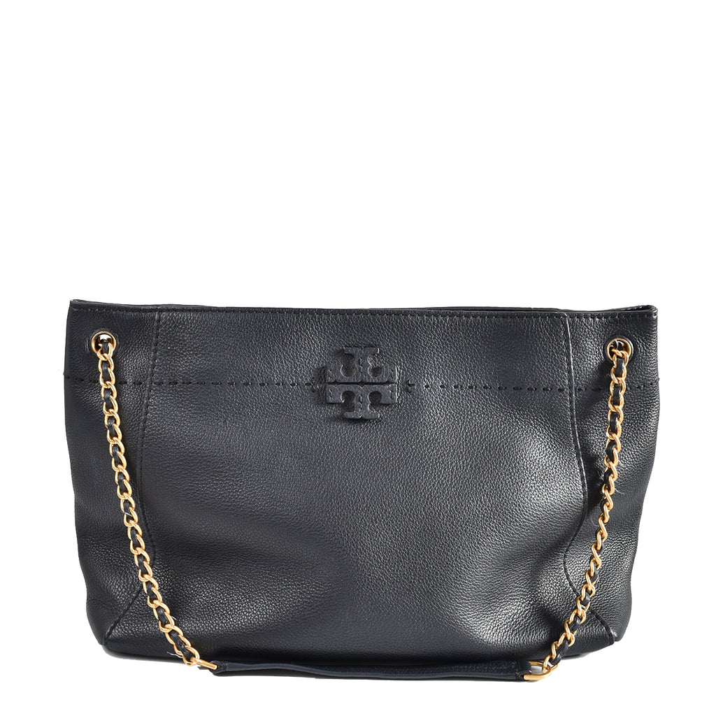 Tory Burch McGraw Chain Shoulder Slouchy Tote in Black