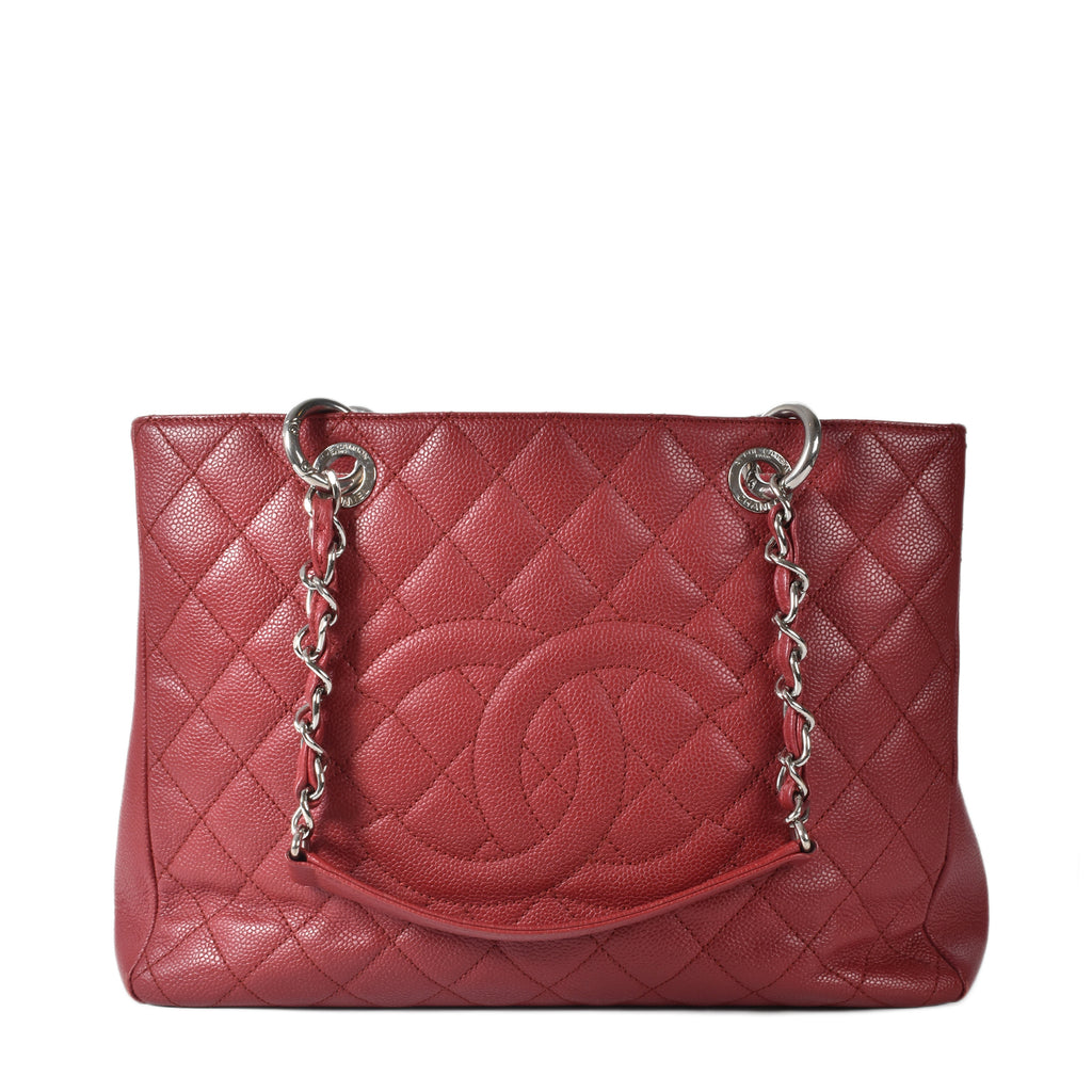 Chanel GST Red Caviar Tote SHW