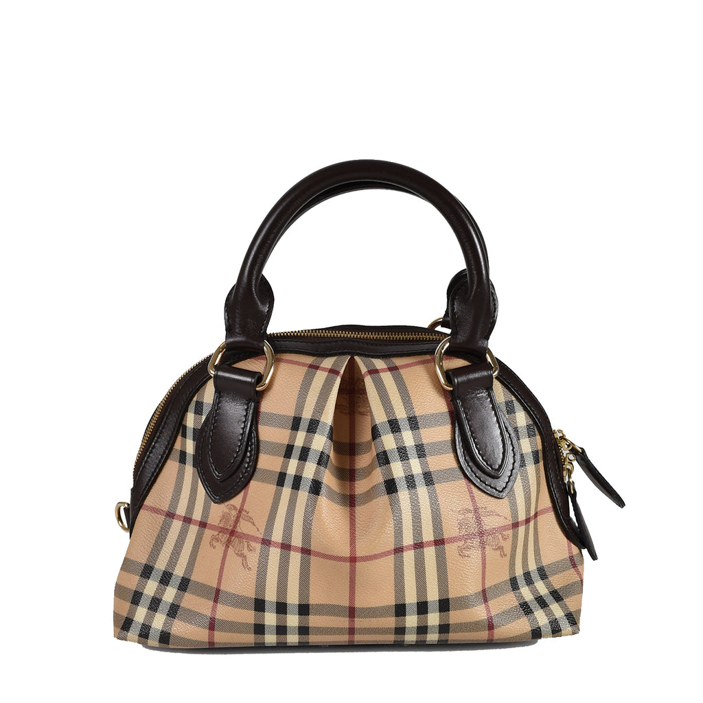 Burberry Handbag Nova Check Coated Canvas Satchel