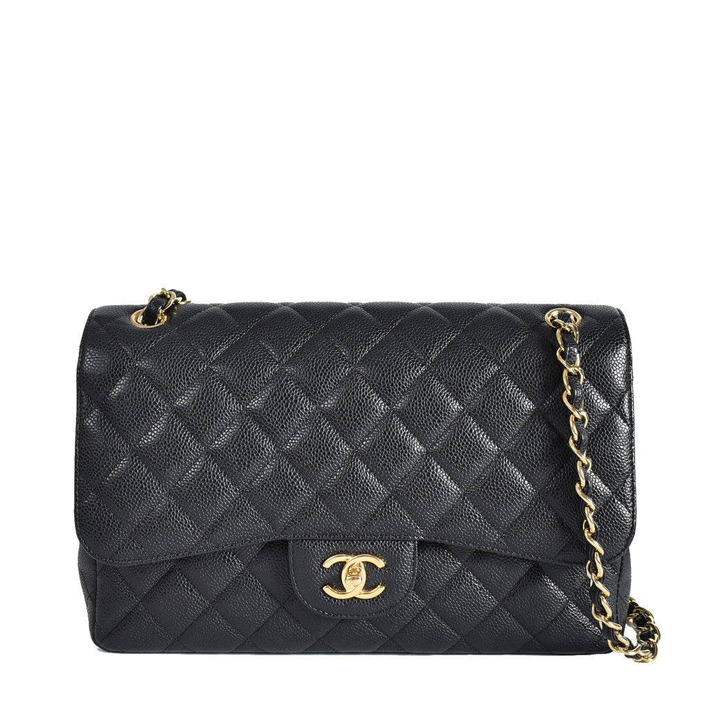 Chanel Black Classic Jumbo Double Flap in Caviar Leather GHW 16037513