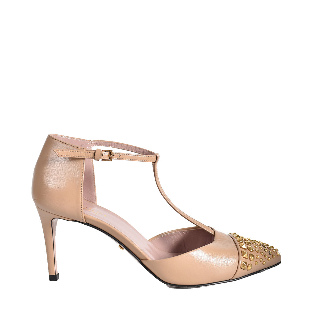 Gucci Nude Coline Mary Jane Leather Studded Pumps Size 35
