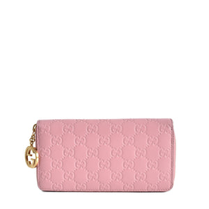 Gucci Pink Guccissima Leather Icon Signature Zip-Around Wallet