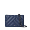 Chanel Navy Blue Lambskin Quilted Chevron Wallet On Chain Dark SHW