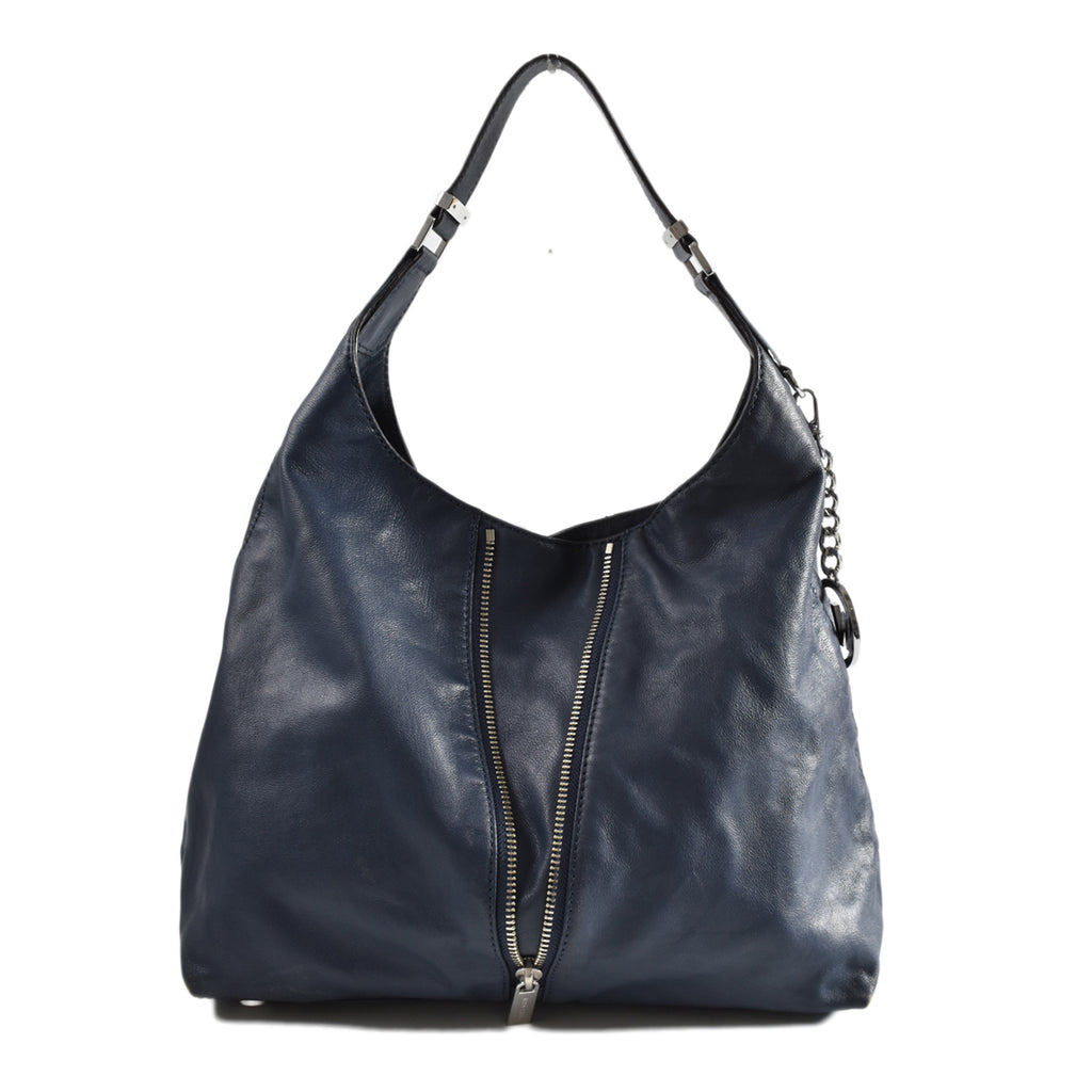 Michael Kors Blue Hobo Bag with Front Zip