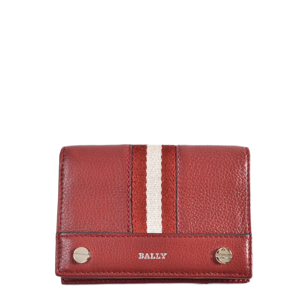 Bally Red 14 Bovine Grained Business Card Holder