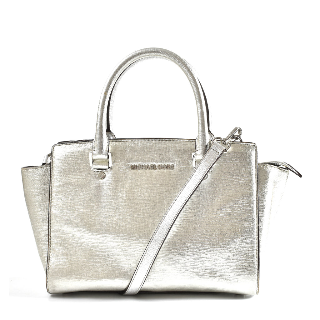 Michael Kors Selma Silver Saffiano Leather Messenger